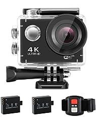 NEXGADGET 4K Actioncam WiFi Ultra HD 16MP Action Kamera 170° Weitwinkel 2,0 Zoll LCD Wasserdicht Helmkamera Sport Kamera Cam Video mit 2 Batterien Fernbedienung und viele Zubehör;Sony Sensor, Serie S2R
