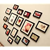 PPD Heart Shape 17pcs/ Set Of Photo Frame , Wall Hanging Photo Frame By Paper Plane Design (Brown)