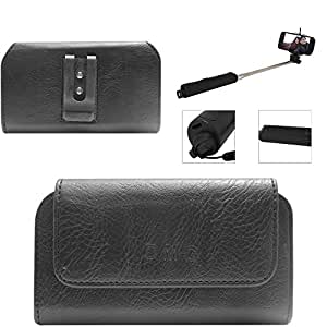 DMG Premium PU Leather Cell Phone Pouch Carrying Case with Belt Clip Holster for Samsung Galaxy Grand 2 (Black) + Wireless Bluetooth Selfie Stick with Image Zoom