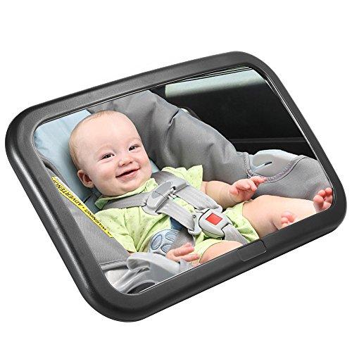 Pretty See Spiegel Auto Baby Rücksitzspiegel 30×19 CM/11.8×7.5 Zoll Große Größe verstellbar Bruchsichere mit Zwei Langlebige Kreuz Schnalle Träger, 360 Grad Drehbar (Kreuz Schnalle)