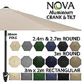 Garden Parasol by Nova - Aluminium Metal Outdoor Patio Umbrella Sun Shade with Crank & Tilt Function - 2.4m 2.7m 3m 3x2m in 6 Colours with 38mm Pole (3m x 2m Rectangular -Beige)