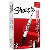 Sharpie (S0811100) Rotulador permanente de dos puntas, caja de 12,  tinta negra