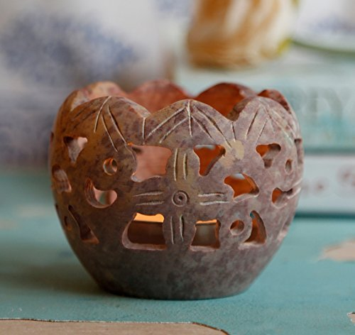 Natural Soapstone Votive Tea Light Candle Holders with Open Carved Floral Design...