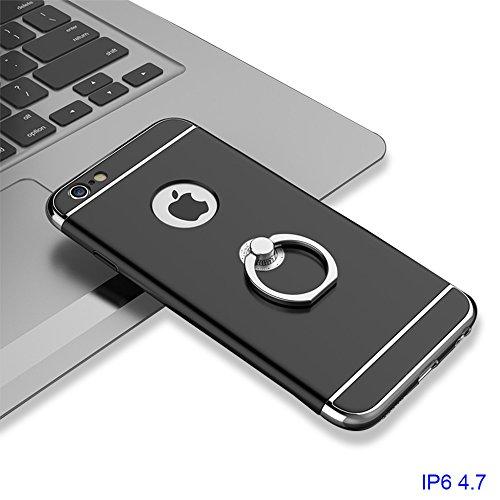 """xhorizon MLK 3 en 1 Coque pour iPhone 6 6S [4.7""""]ultra-fin élégant Coque de Protection dur avec bague béquille 360 degré rotation avec 9H film de protection en verre trempé Noir avec Film de protection en verre trempé 9H"""