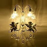 KMDJ Unión de resina blanca/Arpa Violín Angel Salón candelabros de cristal el techo de la sala de estudio de tulipa de luces colgantes dormitorio mediterránea lámpara colgante de cristal