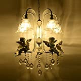 European White Resin Harp/Violin Angel Living Room Chandeliers Glass Lampshade Study Room Ceiling Pendant Lights Mediterranean Bedroom Crystal Pendant Lamp