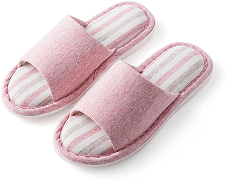 ZHIRONG Zapatillas de damas Modernas Pareja casera Pantuflas de algodón deslizables de interior Tamaño del color...