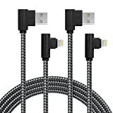APFEN 2 Pack 90 Degree Data Cable Line Gaming Charging Cable Compatible with Phone Charger X/8/8Plus/7/7Plus/6S/6S Plus/SE/Pad/Nan and More(6FT, Black Gray)