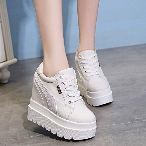 GTVERNH-Di Spessore Di Pan Di Spagna Con Calzature Donna Scarpe Basse Sono In Aumento Con Ultra Alta Moda Scarpe Scarpe Casual white