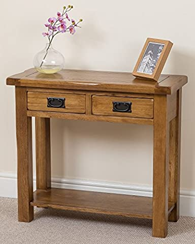 Cotswold Rustic Solid Oak Console Table Hall Way Furniture, ( 85 x 35.5 x 76.5 cm )