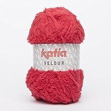 Katia 53 de terciopelo rojo 100 G de bolas de 150 m con un ovillo de capucha para One incluye uso 7-8mm Agujas