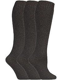 3 paires femme longues chaussettes hiver laine dans marron et verte