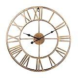 GUOGUO 50cm Wanduhr Groß Vintage Wanduhr Ohne Tickgeräusche mit Großen Römische Ziffern aus Metall (Golden)