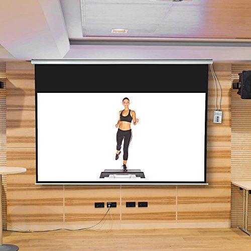 Melko® elektrische Leinwand für Beamer, Heimkino, Büro, Projektoren, 300 x 169 cm, 121 Zoll, ideal für HD-TV mit Motor und Fernbedienung