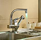 Rozinsanitary Pull Out Hand Spra Kitchen Sink Vessel Faucet Mixer Tap LED Color Changing Chrome Finish Deck-mount