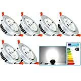VINGO 6er-Pack 7W LED Einbaustrahler Kaltweiß 6500K AC 230V Schwenkbare Einbauspots mit Kabel Trafo
