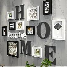 LQQGXL Struttura di legno, attaccatura murale minimalista moderna della parete del fondo della composizione della parete della foto del club della camera da letto del soggiorno della camera da letto Cornice per foto ( Colore : A )