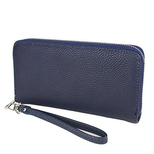 Damen XL Geldbörse / Handytasche Unifarben mit abnehmbarer Handschlaufe - Brieftasche Kunstleder Farbauswahl, Farbe:Blau (Hipster Brieftasche Klassische)