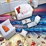 Syssyj 3D Wallpaper Moderne Bunte Sunset Beach Sea Waves Bodenfliesen Wandbilder Schlafzimmer Bad Pvc Wasserdichte Tragen Vinyl Wall Paper 3 D-280X200CM