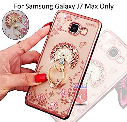 KC Adorable Peacock Ring Stand Soft Transparent Back Cover with Diamond Crystals Case for Galaxy J7 Max - Rose Gold + Pink