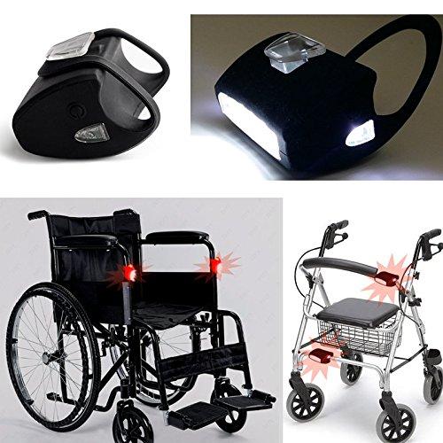 Rollstuhllampe / 2x 7-LED-weiß in Schwarz-Silikon Lichter /LED-Beleuchtung von Top Idee für Rollator, Rollstuhl, Gehstock/ Wasserdicht / Qualitätsarbeit