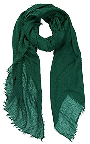 World of Shawls Ladies Distressed Crinkle Scarf Maxi Wrap Large Warm Soft (Forest Green)