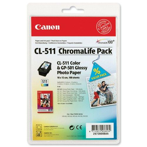 Preisvergleich Produktbild Canon CL-511 ChromaLife Pack, 100 Blatt GP501 10 x 15 cm