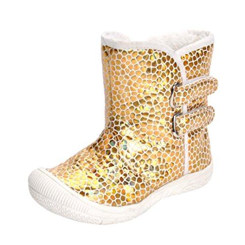 dchen Jungen Goldene Pailletten Leopard Krippe Stiefel Weiche Sohle Prewalker Warme Krabbel Schuhe Krippenschuhe Schneestiefel (21, Gold) (Pailletten-stiefeln)