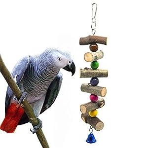 Prom-note Parrot Chew Bite jouet avec crochet pour suspendre Oiseaux d'entraînement jouet Perles colorées cloches Bâtons Cage à oiseaux Pendentif à suspendre pour animal domestique Accessoires pour Large Medium et petits oiseaux