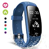 moreFit Slim Touch Wasserdicht Fitness Tracker mit Herzfrequenz,Smart Fitness Armbanduhr Pulsuhr Schrittzähler,Schwimmen Activity Tracker GPS Für Damen/Herren,Blau