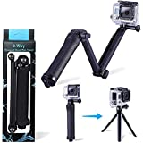 Lukovee 3-Way Grip, Arm, Tripod for for GoPro Hero 7 6 5 4 3+ Action Camera, Waterproof Floating Hand Grip, Foldable Pole 3-Way Ajustable Selfie Stick, Extension Monopod