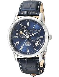 Orient Automatic Sun and Moon Watch ET0T004D - Reloj de pulsera, diseño de cristal de zafiro con esfera de color azul