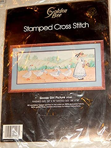 Stamped Cross Stitch Goose Girl Picture #20248 Golden Bee Finished Size 24x10 Complete Kit by Stamped Cross Stitch