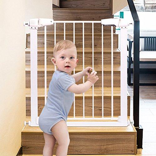 Barrière de sécurité Les Portes de bébé Extra Larges pour Les Portes sécurité 1ère Pression Ajustement Porte escamotable pour Animaux de Compagnie 65-138cm Large Blanc métal (Taille : 87-93cm)