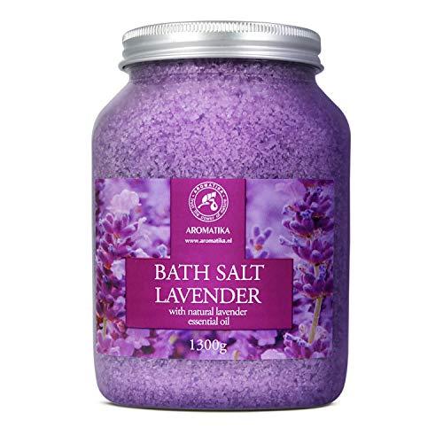 Badesalz Lavendel 1300g - Meersalz mit 100% Natürlichem Ätherischen Lavendelöl - Natur Bade-Salz am Besten für Guten Schlaf - Stressabbau - Baden - Entspannung - Badezusatz von Aromatika -