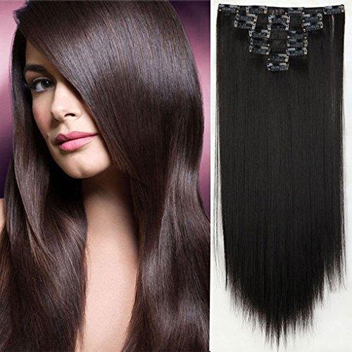 S-noilite, extention per capelli, set con clip da 8 pezzi, lunghezza 66cm, liscio (colore nero naturale)
