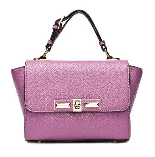 Longzibog Dual verstellbare Schultergurte und Hängeschlaufenband Mode Simple Style Fashion Tote Top Handle Schulter Umhängetasche Satchel Pink Purple