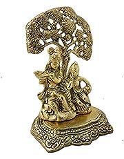 Crafts Idol Radha Krishna Statue Under Tree in White Metal
