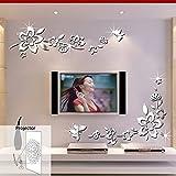 ufengke 3D Flores Diagonales Efecto de Espejo Pegatinas de Pared Diseño de Moda Etiquetas del Arte Decoración del Hogar Plata
