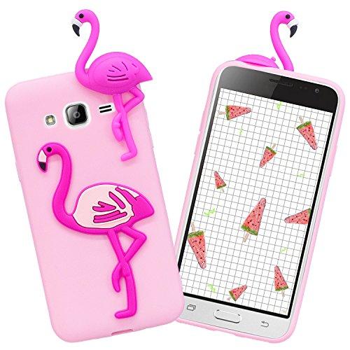 Galaxy J3 2016 Hülle, GoldCome Ultra Dünn TPU Silikon Weich Handyhülle 3D Tierische Früchte Schutz Tasche Schale Case für Samsung Galaxy J3 2016 -Flamingo Rosa