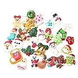 30Pcs Natale Slime ciondoli fette in resina Saint Santa pupazzo di neve albero campana cervi Suits Candy Cane Flatback artigianale perline per decorazione natalizia per interni ed esterni