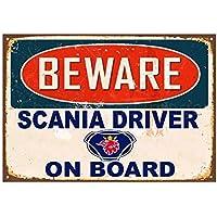 Scania Driver Parking Only Cartel de Chapa Retro Vintage Decoración de Pared Metal Bar Placa Pintura de Estrellas Patio Pub Taberna Tienda Bar Party Game Room Home Decoration Wall Plaque