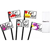 10 x Coco&Bo - Alice in Wonderland - Eat Me Food Picks - Mad Hatters Tea Party - Queen of Hearts Table Decorations