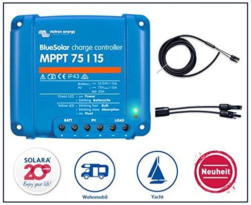 Preisvergleich Produktbild Premium Set Victron MPPT 75 / 15 Laderegler für Wohnmobile,  inkl. hochwertigem Modulanschlußkabel 5m