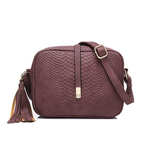 Realer Kleinledergeldbörsen und Handtaschen Umhängetasche mit Schulterriemen für Frauen Khaki Lila