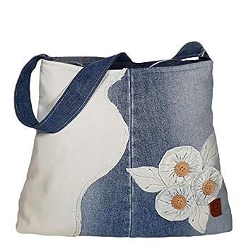 Danem Handtasche mit Stoffblumen, Blaue Jeanstasche, Frauen Mädchen Umhängetasche, Lässige Freizeit Tasche Denim