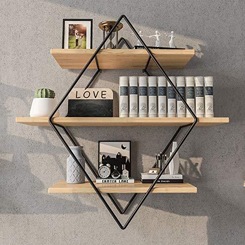 ZYH-shelf Schwimmende Regale, 3 Tier Geometrische Diamond Wandregal, Holz Und Metallkunst, Rustikale Bauernhaus Dekor Display Racks Für Schlafzimmer Wohnzimmer (Shelf Tier)