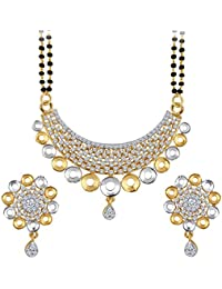 Spargz Designer Two Tone Plating CZ Stone Studded Double Line Beaded Mangalsutra Set For Women AIMS 150