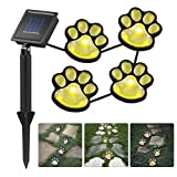 LEDGLE Set of 4 LED Solar Powered Pet Paws Animal Prints Outdoor Lamp, Creative String Light Decorative Outdoor Lights for Patio, Yard, Garden, Warm White Light