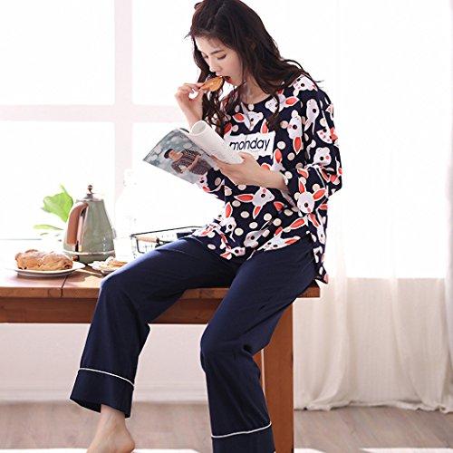 Signore a maniche lunghe pigiama di cotone bello del fumetto casual Relax Home Abbigliamento lunghe - Maniche pantalone ( Colore : Blu , dimensioni : XXL ) Blu